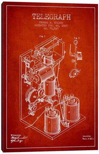 Telegraph Red Patent Blueprint Canvas Art Print