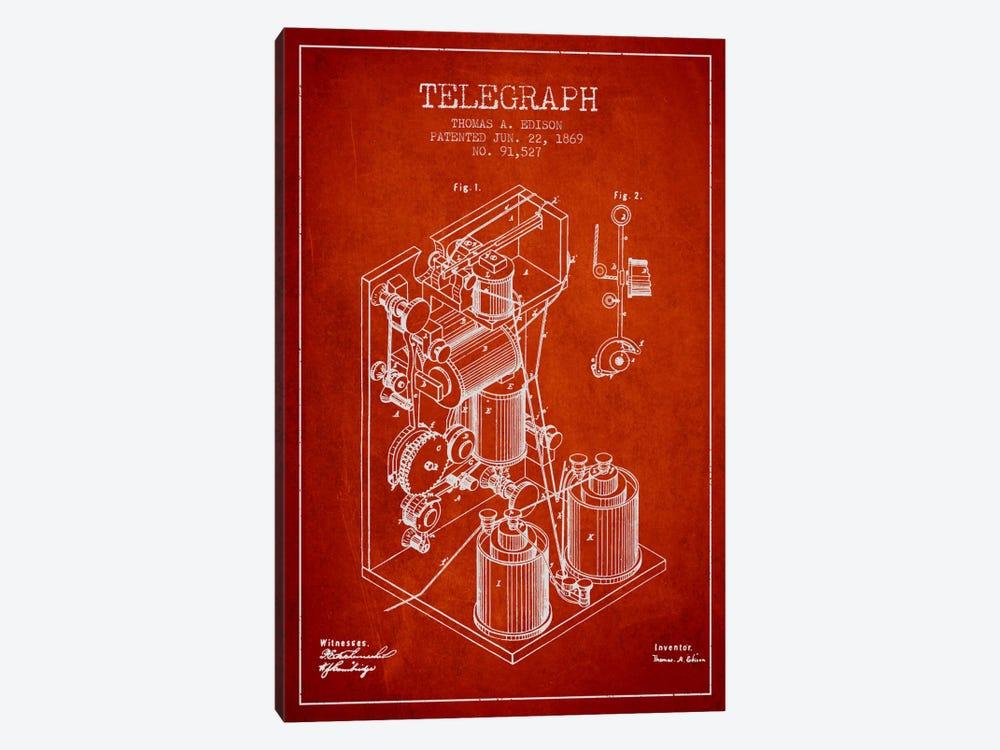 Telegraph Red Patent Blueprint by Aged Pixel 1-piece Canvas Art Print