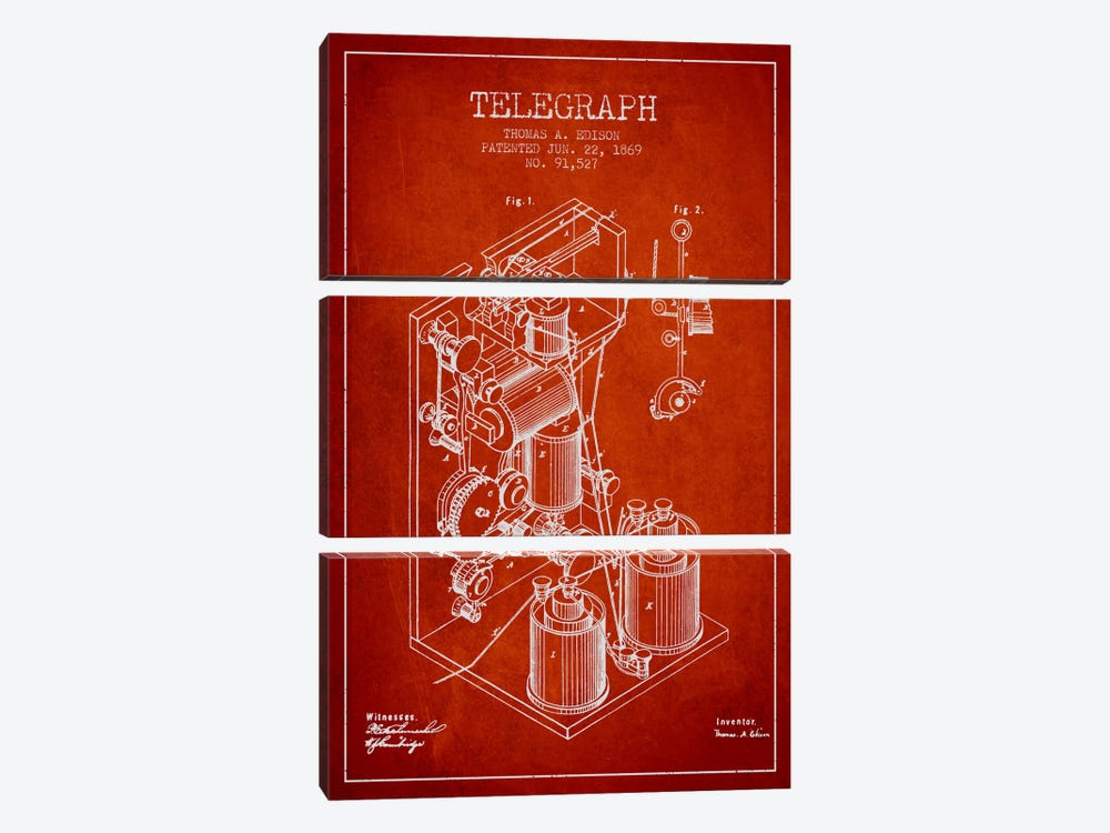 Telegraph Red Patent Blueprint by Aged Pixel 3-piece Art Print