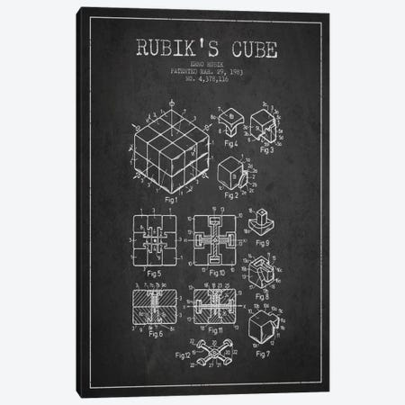 Rubik Dark Patent Blueprint Canvas Print #ADP61} by Aged Pixel Canvas Artwork