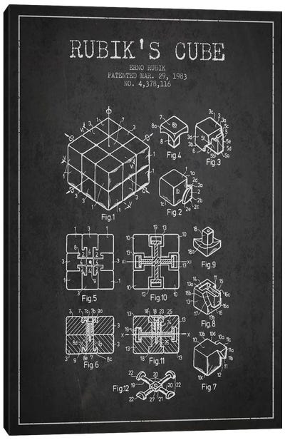 Rubik Dark Patent Blueprint Canvas Art Print