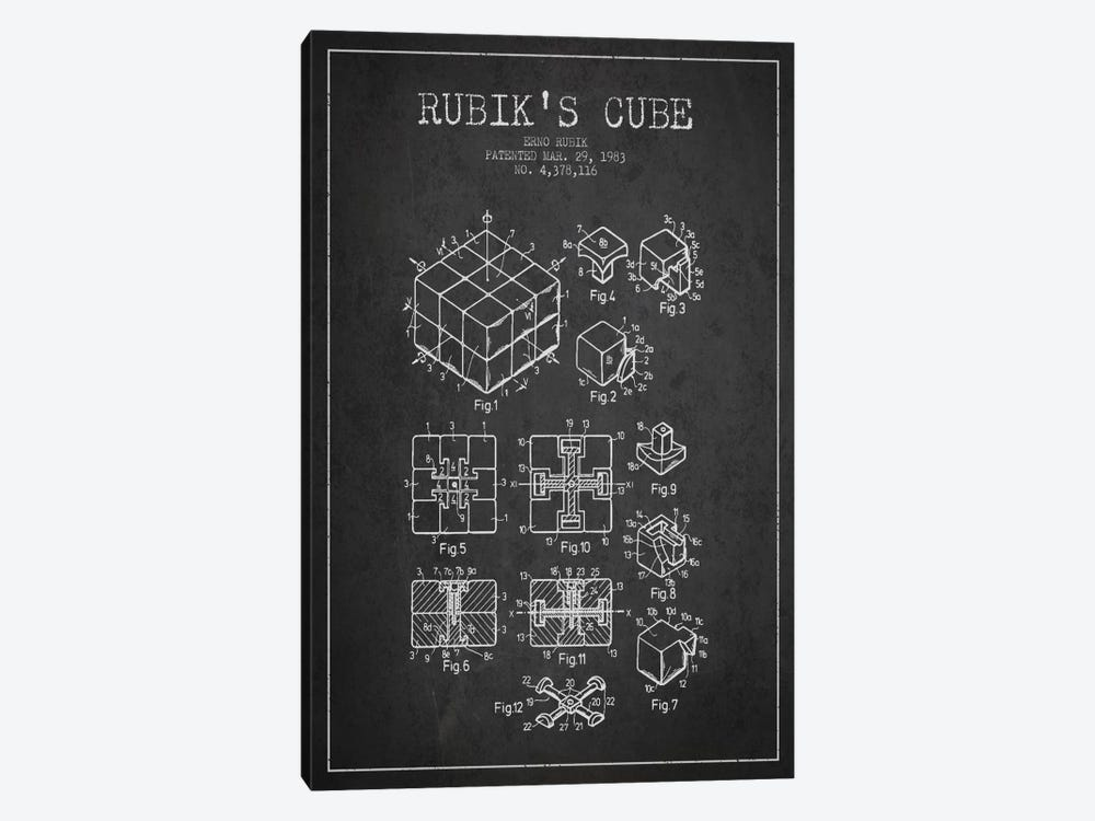 Rubik Dark Patent Blueprint by Aged Pixel 1-piece Canvas Artwork