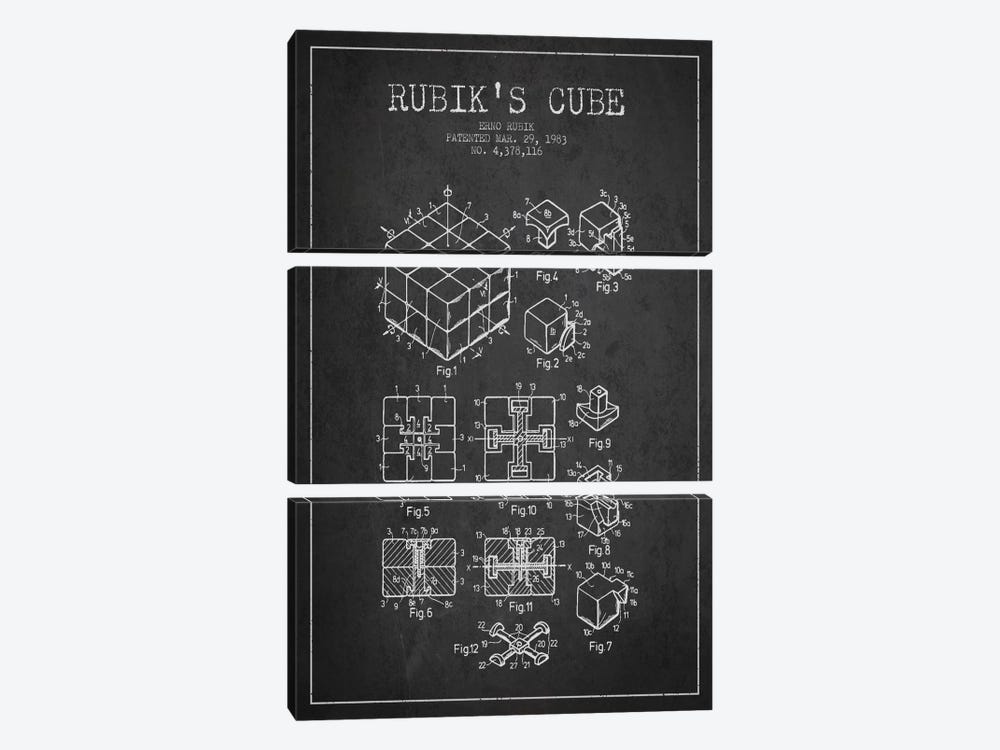 Rubik Dark Patent Blueprint by Aged Pixel 3-piece Canvas Art