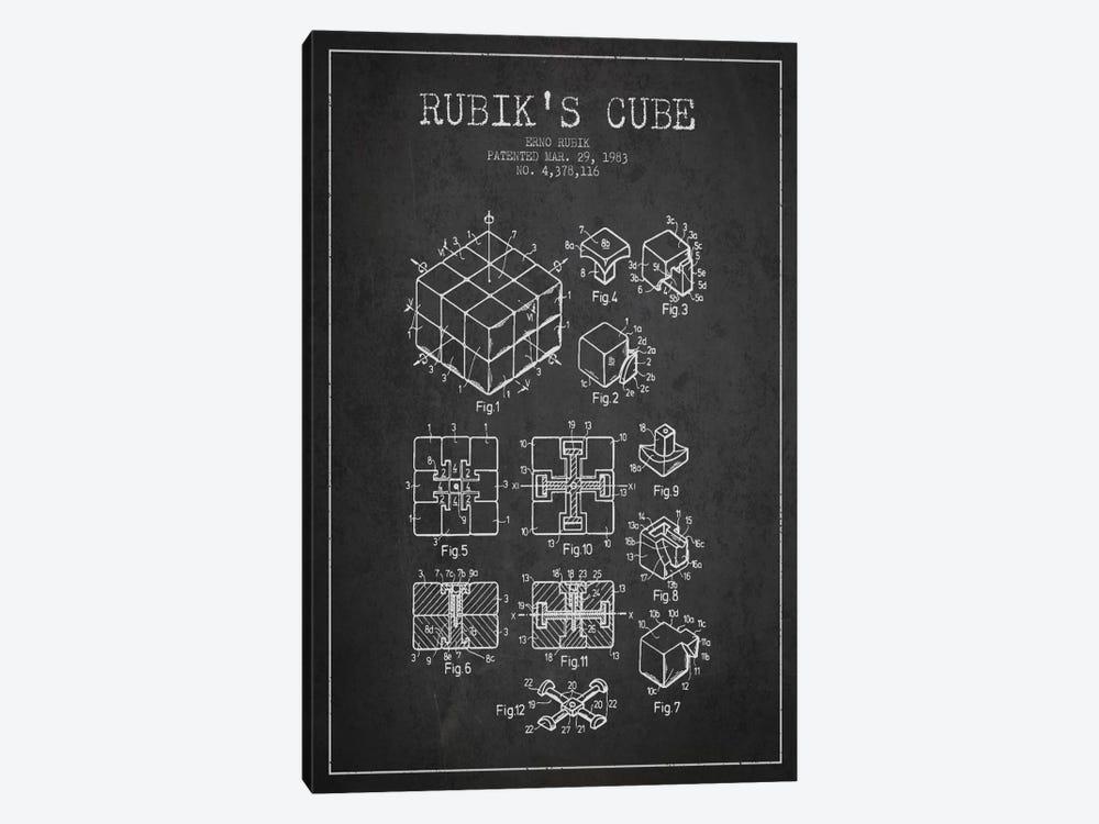 Rubik Dark Patent Blueprint by Aged Pixel 1-piece Canvas Artwork