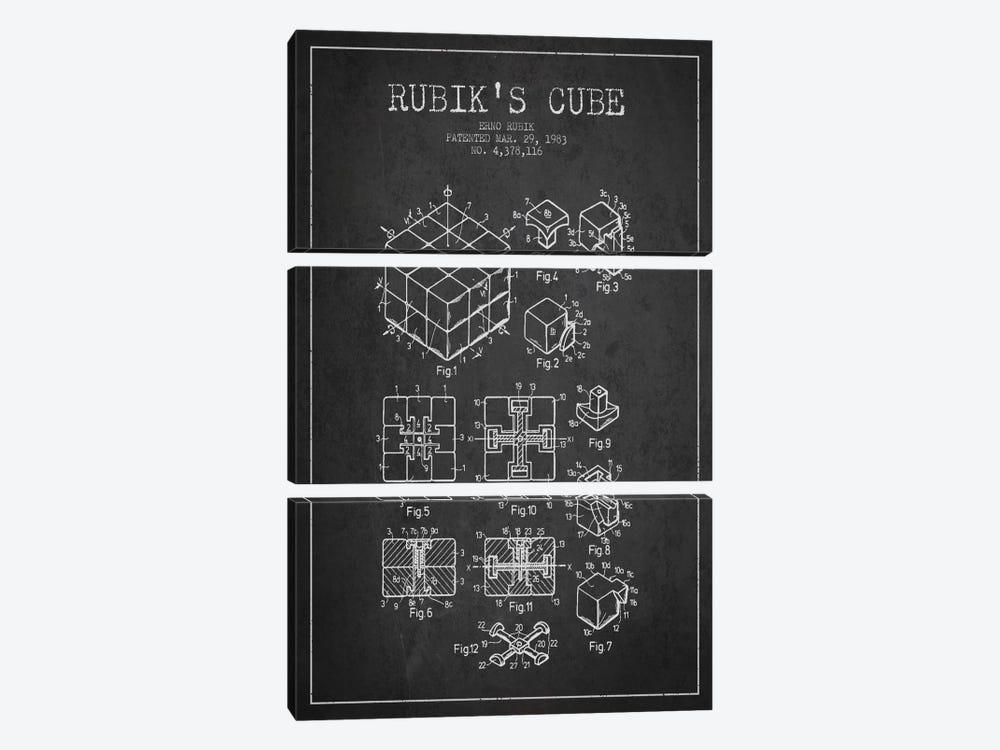 Rubik Dark Patent Blueprint by Aged Pixel 3-piece Canvas Art