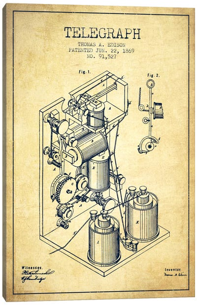Telegraph Vintage Patent Blueprint Canvas Art Print