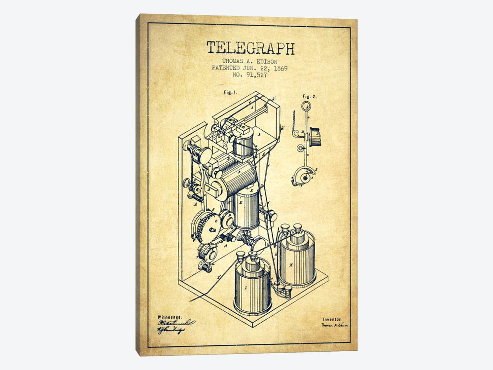 Telegraph Vintage Patent Blueprint by Aged Pixel 1-piece Art Print