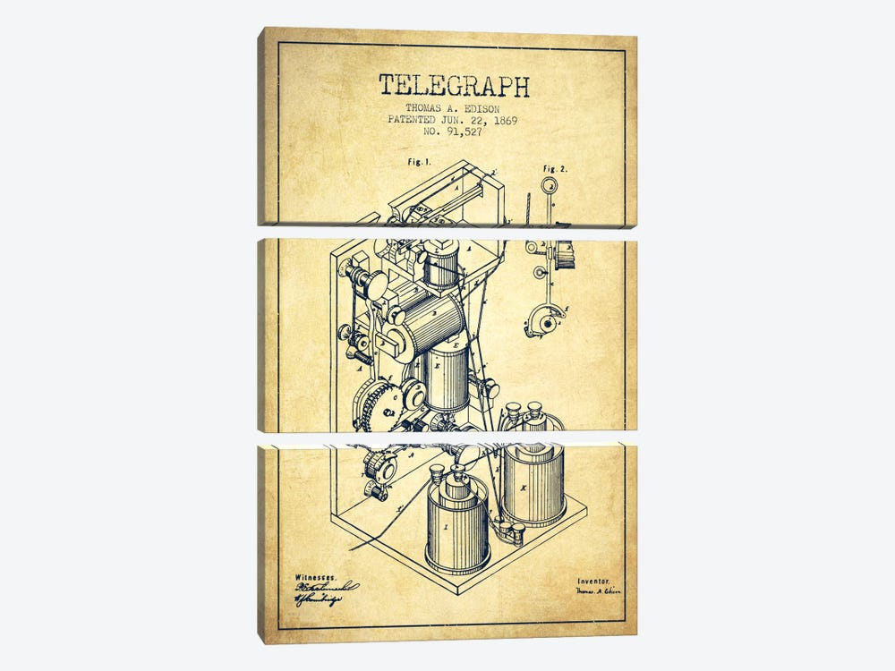 Telegraph Vintage Patent Blueprint by Aged Pixel 3-piece Canvas Print