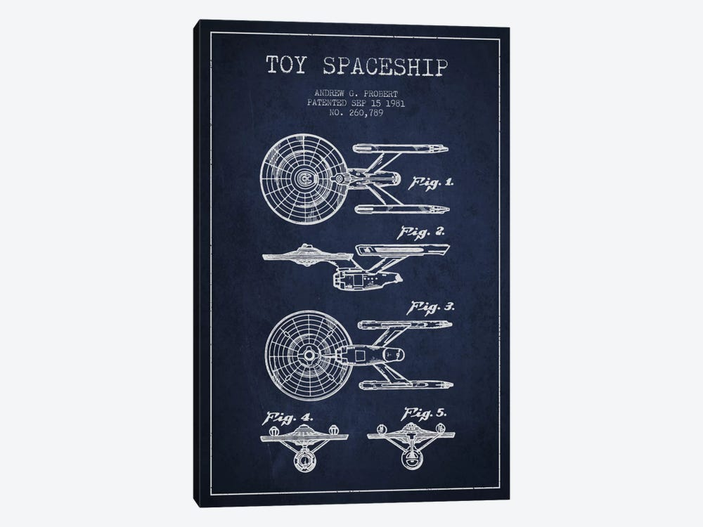 Toy Spaceship Navy Blue Patent Blueprint by Aged Pixel 1-piece Canvas Artwork