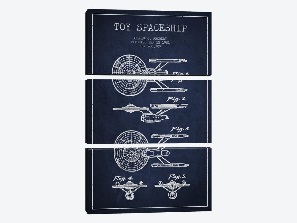Toy Spaceship Navy Blue Patent Blueprint by Aged Pixel 3-piece Canvas Artwork