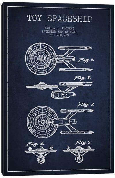 Toy Spaceship Navy Blue Patent Blueprint Canvas Art Print
