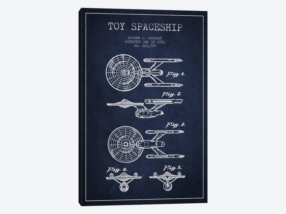 Toy Spaceship Navy Blue Patent Blueprint by Aged Pixel 1-piece Canvas Artwork