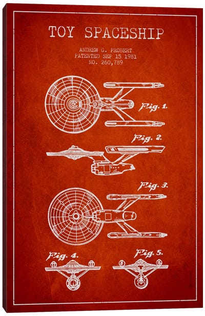 Toy Spaceship Red Patent Blueprint Canvas Art Print