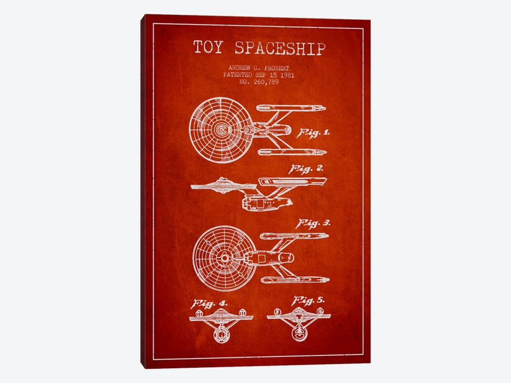 Toy Spaceship Red Patent Blueprint by Aged Pixel 1-piece Art Print