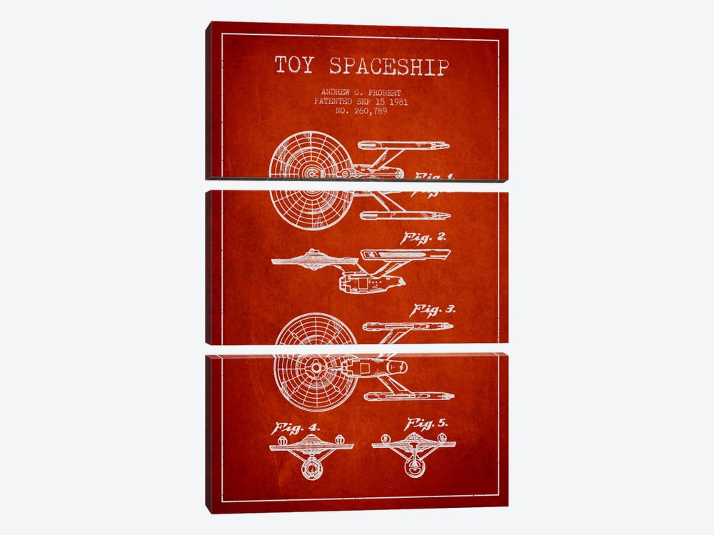 Toy Spaceship Red Patent Blueprint by Aged Pixel 3-piece Canvas Print