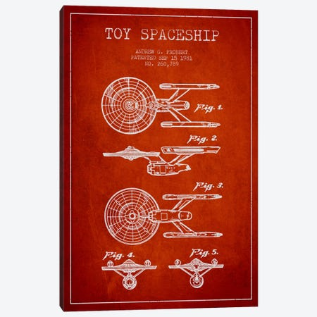 Toy Spaceship Red Patent Blueprint Canvas Print #ADP622} by Aged Pixel Canvas Print