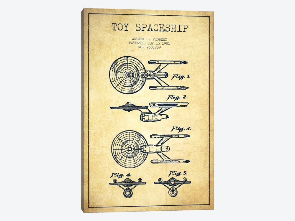 Toy Spaceship Vintage Patent Blueprint by Aged Pixel 1-piece Canvas Art