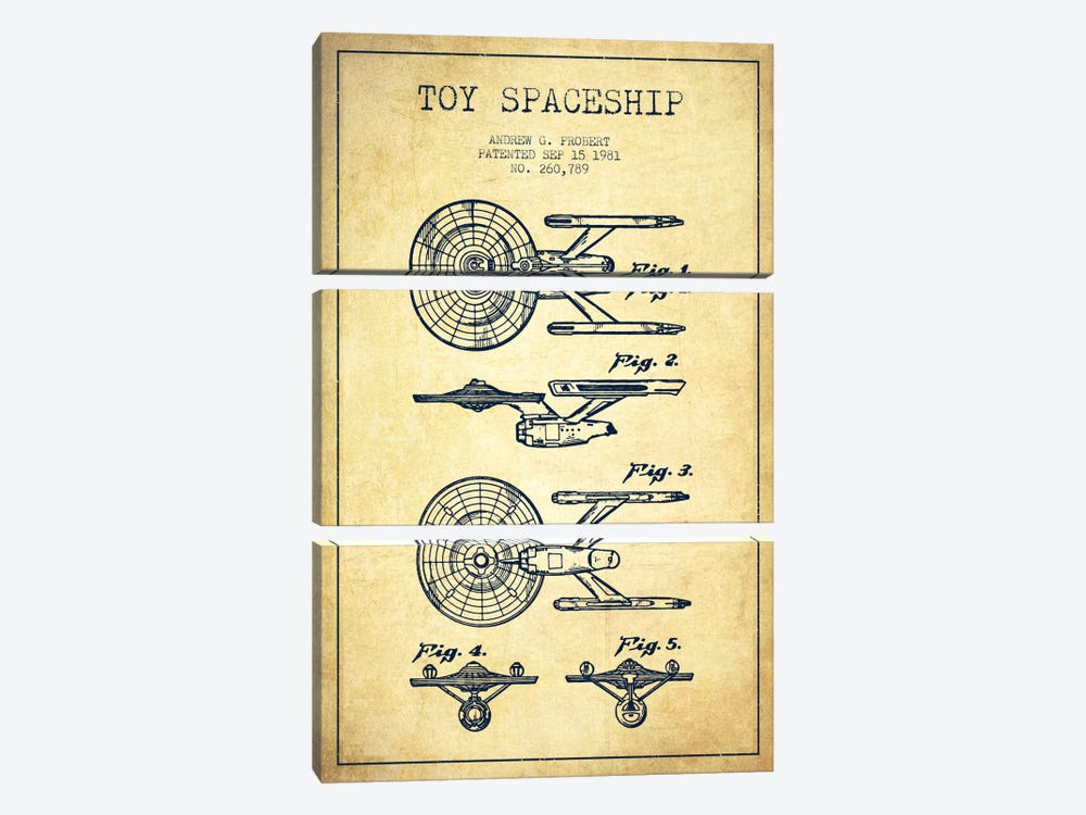 Toy Spaceship Vintage Patent Blueprint by Aged Pixel 3-piece Canvas Wall Art