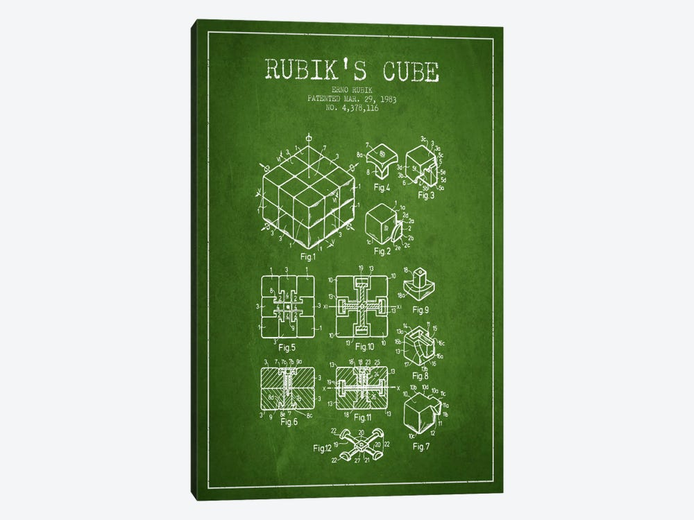 Rubik Green Patent Blueprint by Aged Pixel 1-piece Canvas Art Print