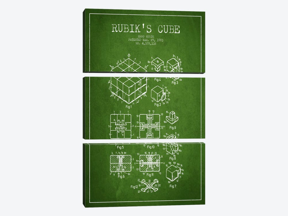 Rubik Green Patent Blueprint by Aged Pixel 3-piece Canvas Art Print
