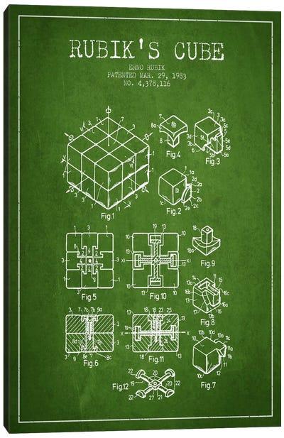 Rubik Green Patent Blueprint Canvas Art Print