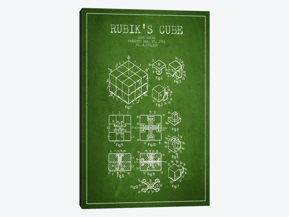 Rubik Green Patent Blueprint by Aged Pixel 1-piece Canvas Art Print