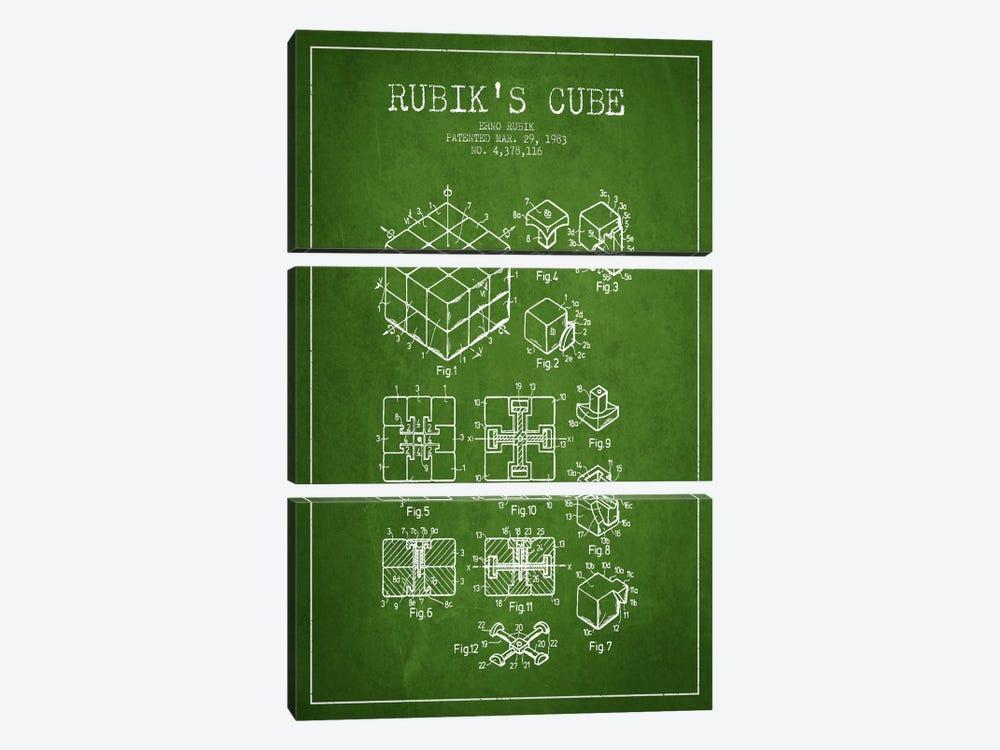 Rubik Green Patent Blueprint by Aged Pixel 3-piece Canvas Art Print