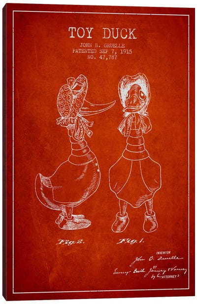 Female Duck Red Patent Blueprint Canvas Art Print