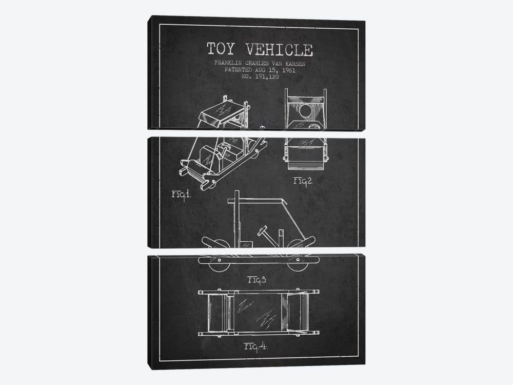 Flinstone Dark Patent Blueprint by Aged Pixel 3-piece Canvas Wall Art