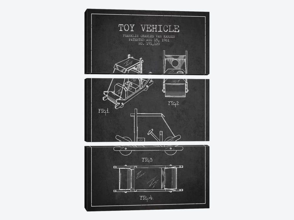 Flinstone Dark Patent Blueprint by Aged Pixel 3-piece Canvas Wall Art