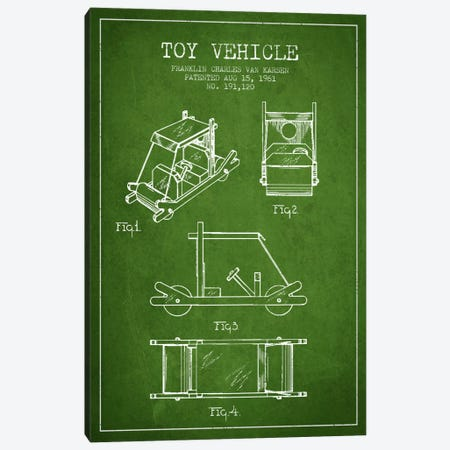 Flinstone Green Patent Blueprint Canvas Print #ADP635} by Aged Pixel Art Print