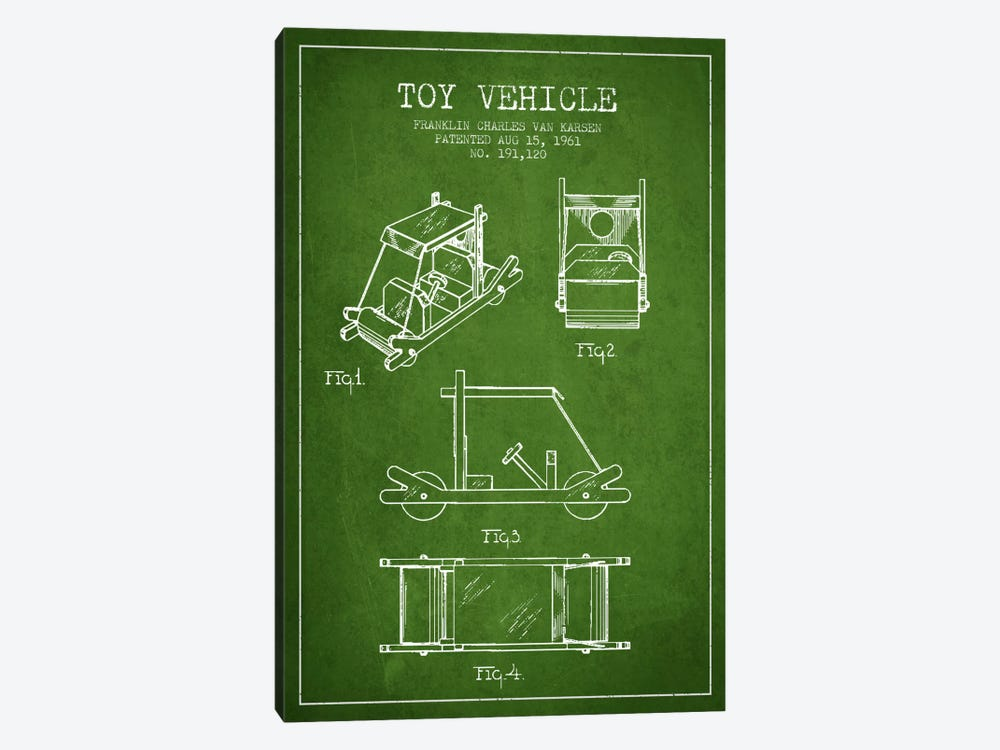 Flinstone Green Patent Blueprint by Aged Pixel 1-piece Canvas Art Print
