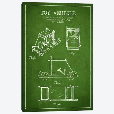 Flinstone Green Patent Blueprint Canvas Print #ADP635} by Aged Pixel Art Print