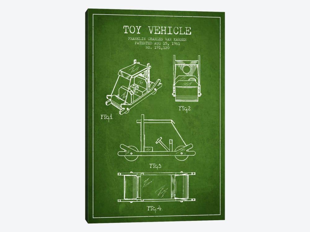 Flinstone Green Patent Blueprint by Aged Pixel 1-piece Canvas Art Print