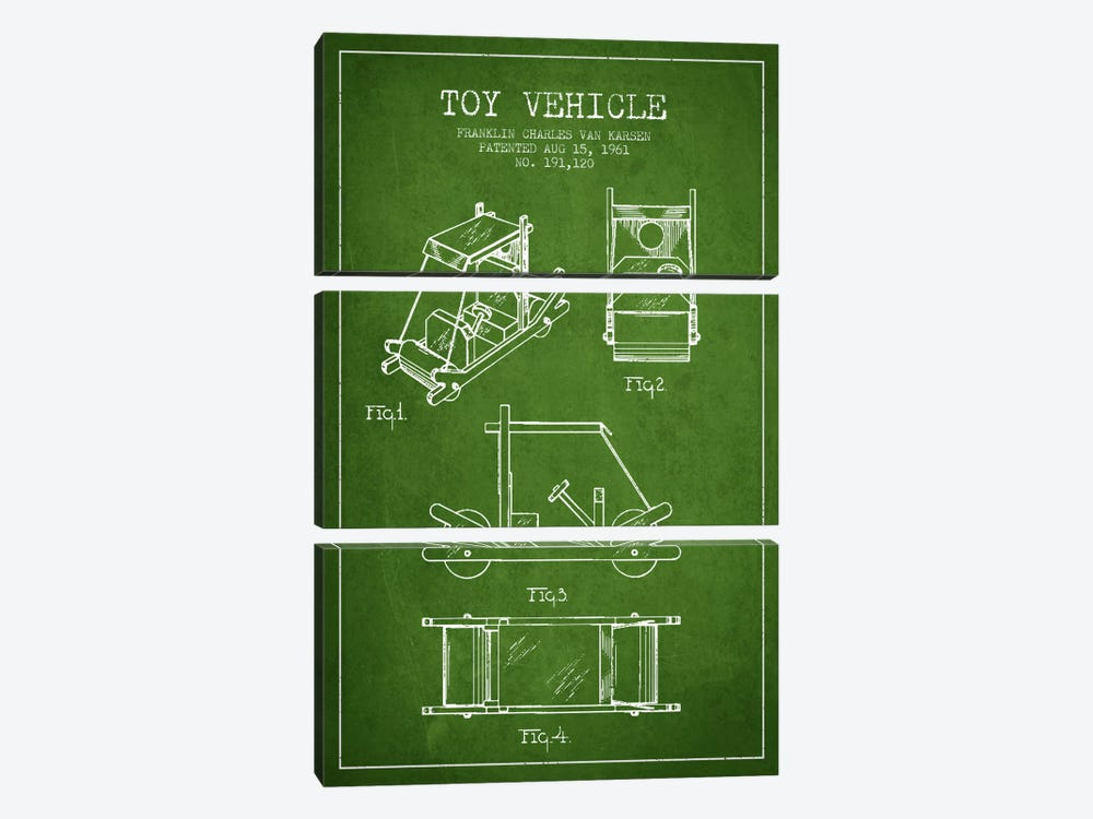 Flinstone Green Patent Blueprint by Aged Pixel 3-piece Art Print