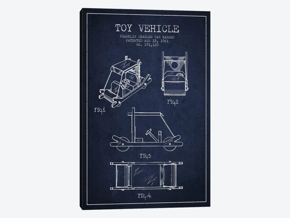 Flinstone Navy Blue Patent Blueprint by Aged Pixel 1-piece Canvas Artwork