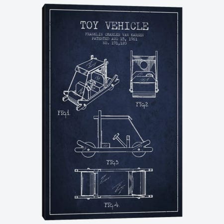 Flinstone Navy Blue Patent Blueprint Canvas Print #ADP636} by Aged Pixel Art Print