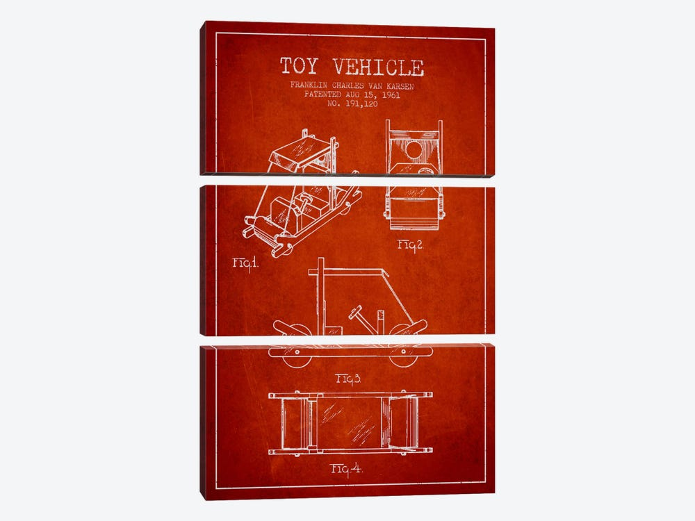 Flinstone Red Patent Blueprint by Aged Pixel 3-piece Canvas Art Print