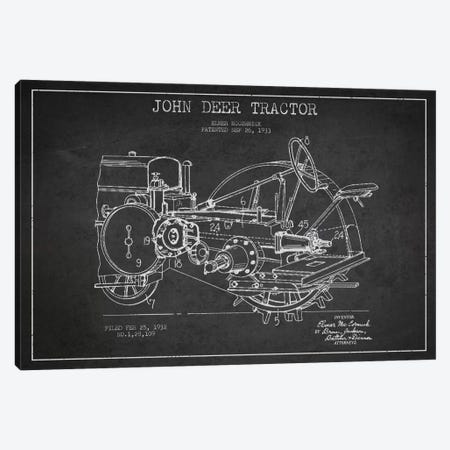 John Deer Charcoal Patent Blueprint Canvas Print #ADP639} by Aged Pixel Canvas Artwork