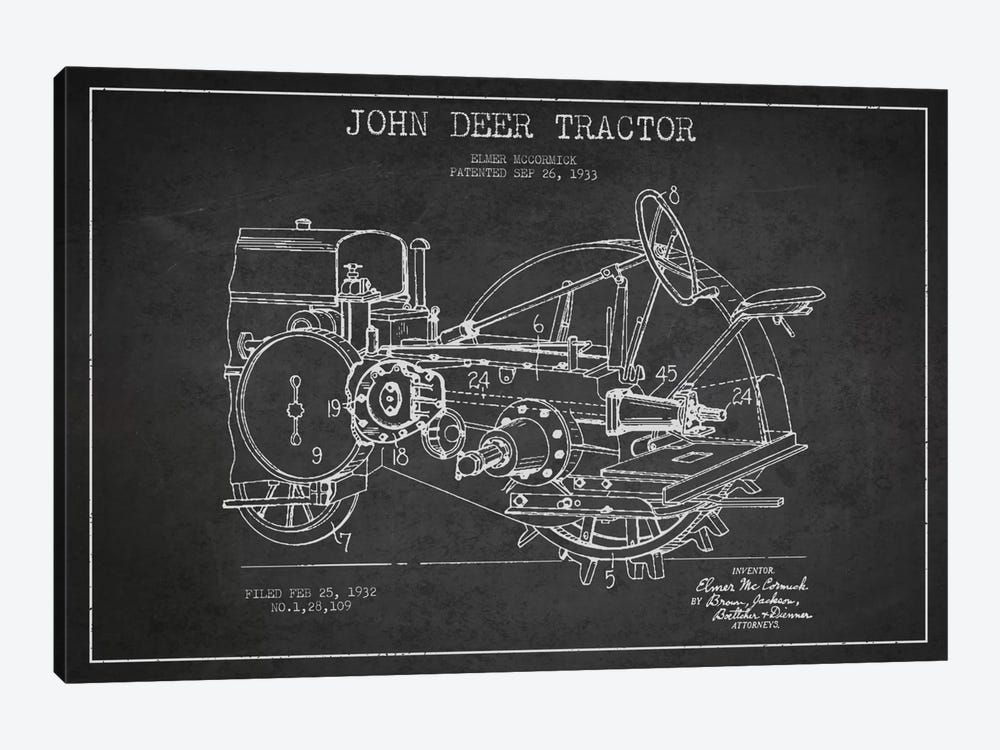 John Deer Charcoal Patent Blueprint by Aged Pixel 1-piece Canvas Art Print