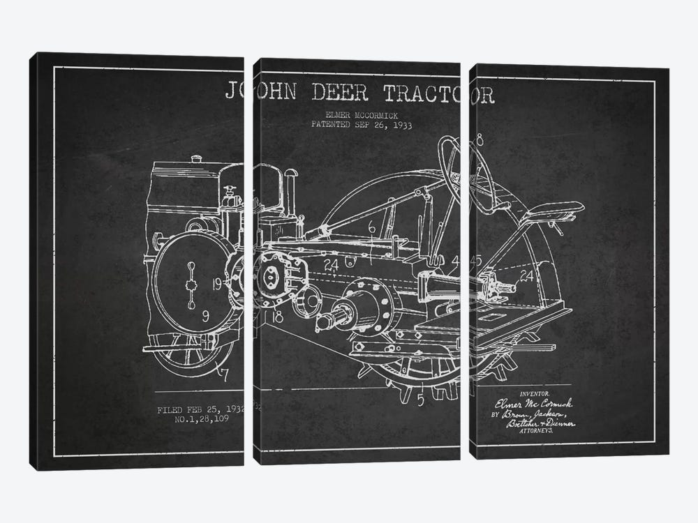 John Deer Charcoal Patent Blueprint by Aged Pixel 3-piece Canvas Print