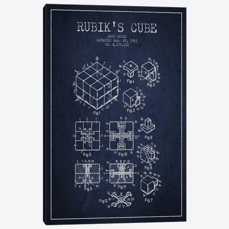 Rubik Navy Blue Patent Blueprint Canvas Print #ADP63} by Aged Pixel Canvas Artwork