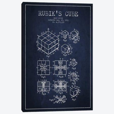 Rubik Navy Blue Patent Blueprint Canvas Print #ADP63} by Aged Pixel Canvas Artwork