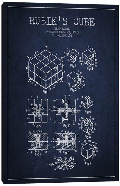 Rubik Navy Blue Patent Blueprint Canvas Art Print