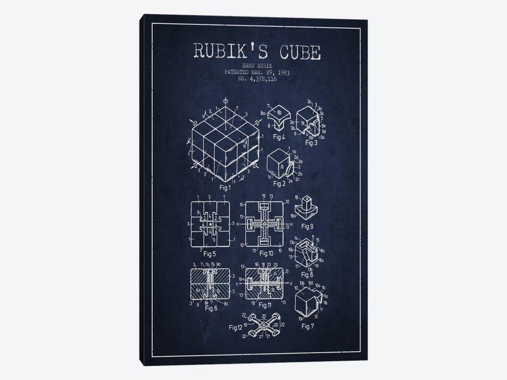 Rubik Navy Blue Patent Blueprint by Aged Pixel 1-piece Canvas Artwork