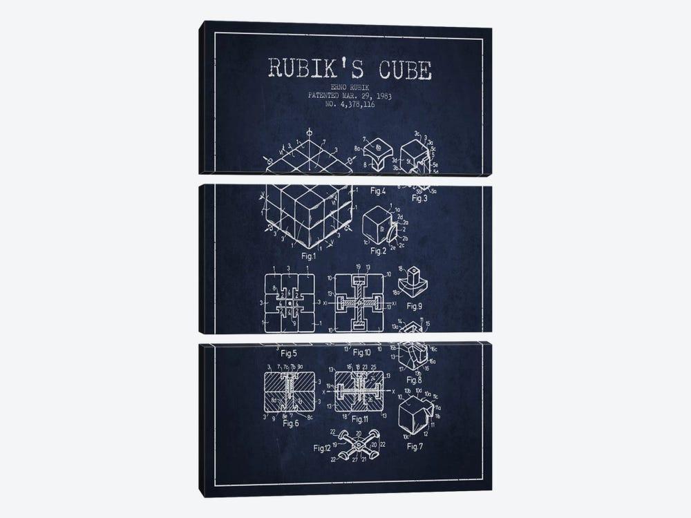Rubik Navy Blue Patent Blueprint by Aged Pixel 3-piece Canvas Wall Art