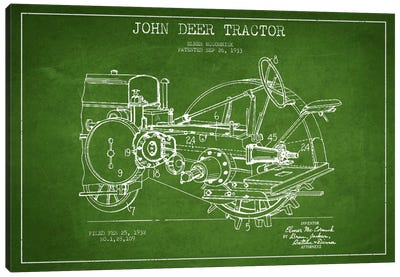John Deer Green Patent Blueprint Canvas Print #ADP640