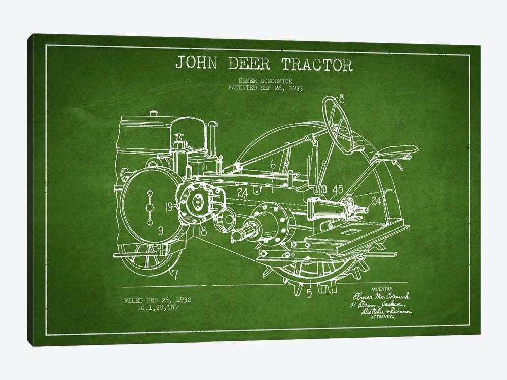 John Deer Green Patent Blueprint by Aged Pixel 1-piece Canvas Print