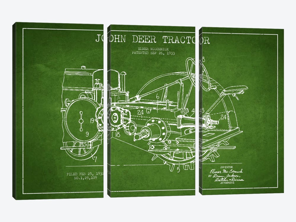 John Deer Green Patent Blueprint by Aged Pixel 3-piece Canvas Print