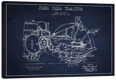 John Deer Navy Blue Patent Blueprint Canvas Print #ADP641
